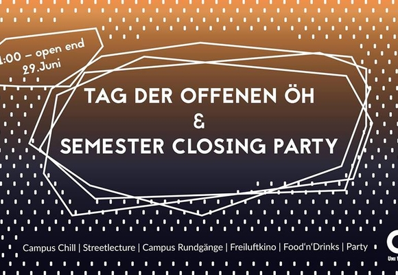 Banner Semester Closing Party mit Informationen